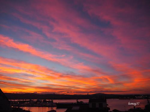 amanecer estuary ría sunrise clouds sky cielo nubes dawn