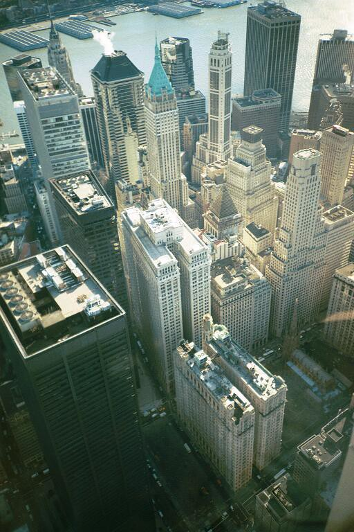 The view on Downtown roofs from the old WTC