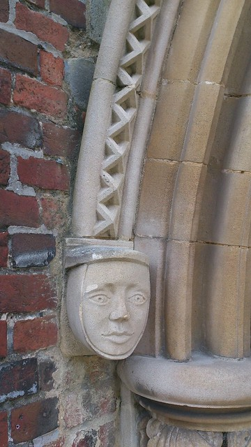 Corbel on exterior of Romsey Abbey SWC Walk 58 Mottisfont and Dunbridge to Romsey