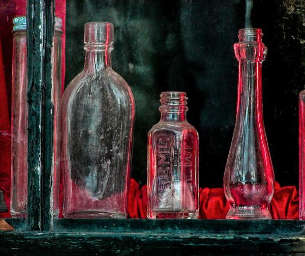 bottles and rim light