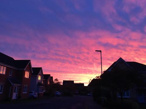 morning sky sunrise fire dawn early cambridgeshire iphone