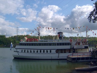Finland (Naantali) Midnight cruise ship at long summer days