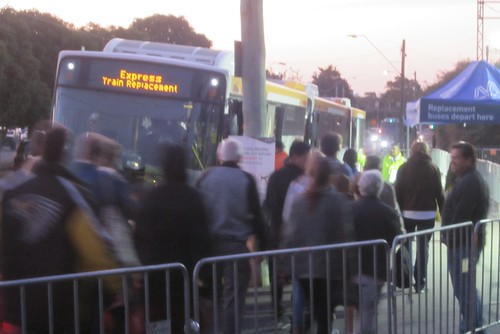 Rail replacement buses at Caulfield during level crossing works