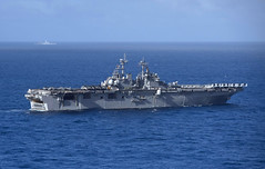 In this file photo, USS Boxer (LHD 4) and USS New Orleans (LPD 18) operate in the Pacific earlier this month. (U.S. Navy/MCSN Craig Z. Rodarte)