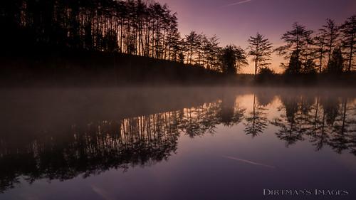 fog sunrise quarry pit mirror