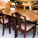Mahogany veneer extendable dining table