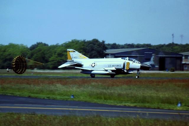 F-4C 63-7453 171st FIS, Michigan-ANG, USAF. Soesterberg Air Base, Friday 13-06-1986. Seen arriving for Battle-Damage-Repair duties.