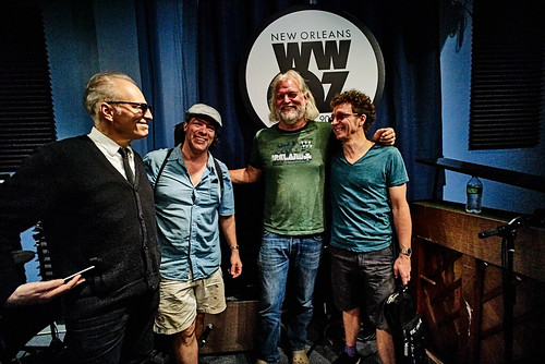 Johnny Sansone at WWOZ: Joe Cabral, John Fohl, Johnny Sansone, Russ Broussard. Photo by Eli Mergel
