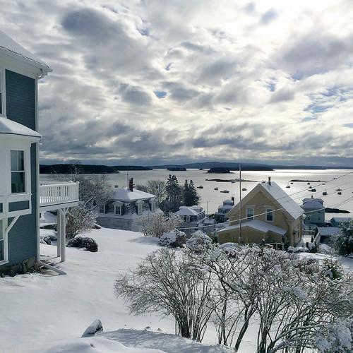 ocean winter snow islands harbor maine newengland stonington