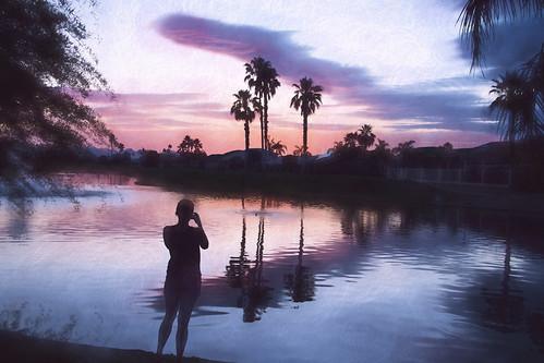 camera sunset arizona sky lake west water silhouette clouds reflections palms photo sundown jessica redsky chandler maricopa sunlakes