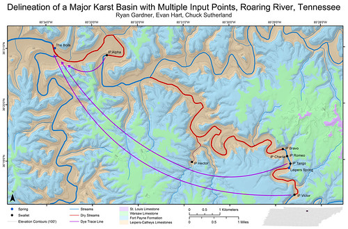 Delineation of a Major Karst Basin with Multiple Input Points, Roaring River, Tennessee - Map | by Chuck Sutherland