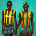 Portrait of a bana tribe couple hand in hand, Omo valley, Key afer, Ethiopia by Eric Lafforgue