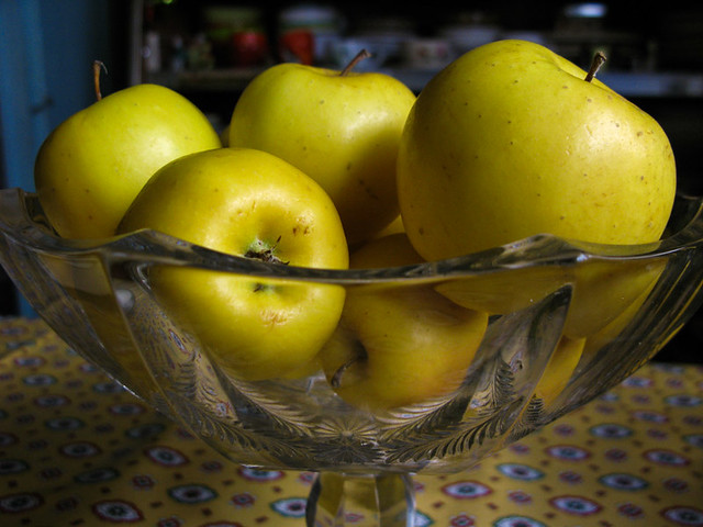 Apples and Pattern Glass Compote