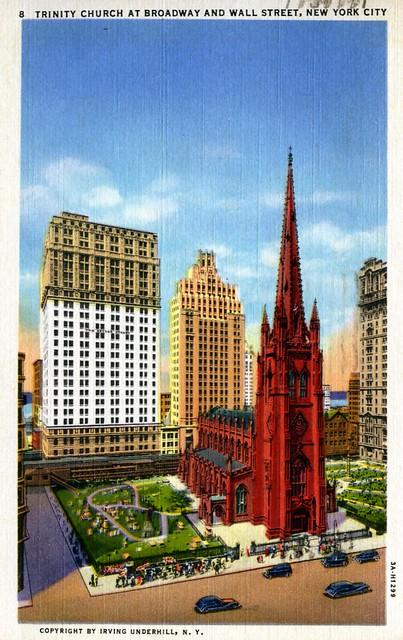 Trinity Church at Broadway and Wall Street New York NY