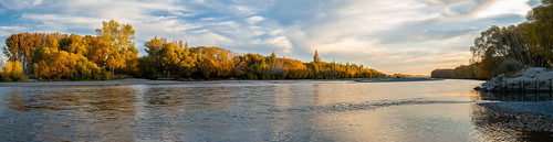 new blue autumn trees sunset christchurch nature water leaves yellow clouds river golden nikon rocks dusk stones zealand hour d750 handheld