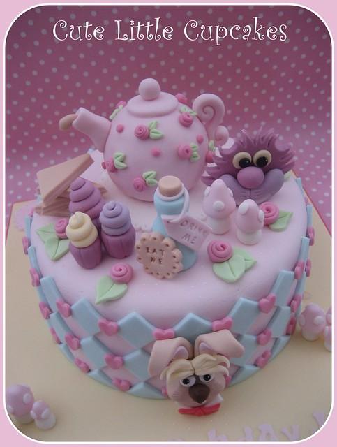 Alice in Wonderland themed Birthday Cake