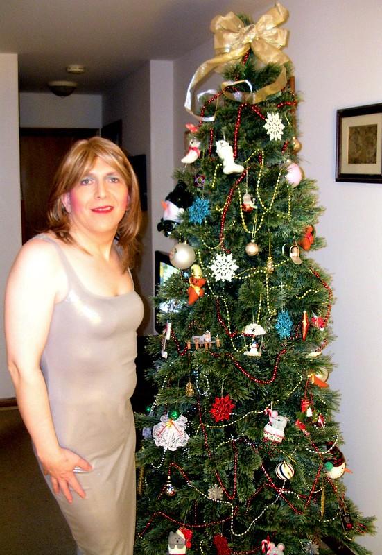Silver tank dress w/ tree
