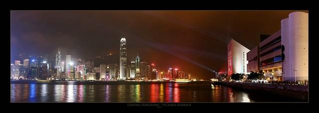 Hong Kong Skyline - Laser Attack