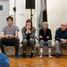 Dominic Marsh, Hannah McPake, Myra McFadyen and John Cobb in rehearsals for I Am Thomas, Copperfield Rehearsal Rooms