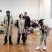 Charlie Folorunsho, Amanda Hadingue, Iain Johnstone, and John Pfumojena in rehearsals for I Am Thomas, Copperfield Rehearsal Rooms