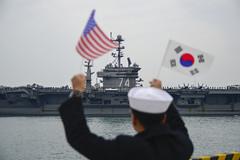 USS John C. Stennis (CVN 74) approaches the pier of Commander of Republic of Korea Fleet base in Busan, the new home for the U.S. Navy in Korea. (U.S. Navy/MC3 Wesley J. Breedlove)