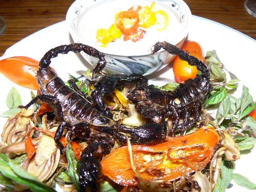 ORIGINAL FILE NAME: 342651644_131823b56c_o  CAPTIONS IN DIFFERENT LANGUAGES: EN: Scorpions and salad on a plate - credits to Graeme Newcomb - Flickr SV: Skorpioner på plattan - fotokredit till Graeme Newcomb - Flickr  LINK TO SOURCE: https://www.flickr.com/photos/graemenewcomb/342651644/in/photolist-whboY-dPNMjN-7qkPPE-biitqg-PkccG-81TnF7-54bQnQ-Xatie6-dPHpev-dPHjXV-dPHJU8-dPH72x-dPPfPj-5cRxmV-dPNYH3-dPHErT-dPNSYG-dPHABR-dPNQWE-dPHtPM-dPP2s1-dPHfDe-Fr4yCz-dPH9hg-dPHGfz-dPHyBD-dPNUaE-dPNPZy-dPHa5B-dPHHWP-dPHbP2-dPHvaz-dPHFmc-dPPePw-dPHorv-dPHkWe-dPHHbT-dPHwVD-dPHzAe-dPHxLF-dPH8jg-dPNVqw-dPHcMZ-dPHBoi-26giMB8-GRCNts-nv7wQb-dPP4MQ-dPHw4Z-dPHrdR  IMAGE ADDRESS: https://live.staticflickr.com/163/342651644_131823b56c.jpg  DOWNLOAD PLATFORM: Flickr  TITLE: Sure Beats a Big Mac!  KEYWORDS: scorpions, Party Bugs, Bug Bazaar  AUTHOR: Graeme Newcomb - https://www.flickr.com/photos/graemenewcomb/  LINK TO AUTHOR'S PAGE: https://www.flickr.com/photos/graemenewcomb/  COMMENTS: Resized from the original by Party Bugs (www.partybugs.com). Original photo was downloaded from https://www.flickr.com/photos/graemenewcomb/342651644/in/photolist-whboY-dPNMjN-7qkPPE-biitqg-PkccG-81TnF7-54bQnQ-Xatie6-dPHpev-dPHjXV-dPHJU8-dPH72x-dPPfPj-5cRxmV-dPNYH3-dPHErT-dPNSYG-dPHABR-dPNQWE-dPHtPM-dPP2s1-dPHfDe-Fr4yCz-dPH9hg-dPHGfz-dPHyBD-dPNUaE-dPNPZy-dPHa5B-dPHHWP-dPHbP2-dPHvaz-dPHFmc-dPPePw-dPHorv-dPHkWe-dPHHbT-dPHwVD-dPHzAe-dPHxLF-dPH8jg-dPNVqw-dPHcMZ-dPHBoi-26giMB8-GRCNts-nv7wQb-dPP4MQ-dPHw4Z-dPHrdR  COPYRIGHT: Graeme Newcomb - CC BY 2.0  THIS INFORMATION WAS RECORDED ON 2.4.2021.