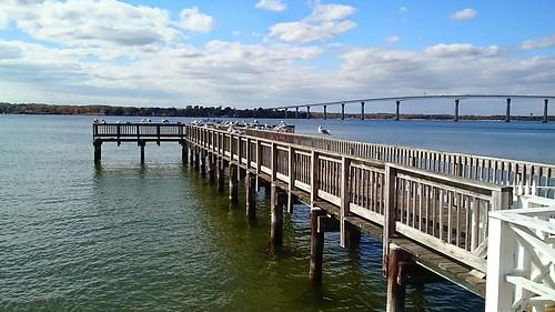 bridge solomons island maryland usa mer sea ocean water eau