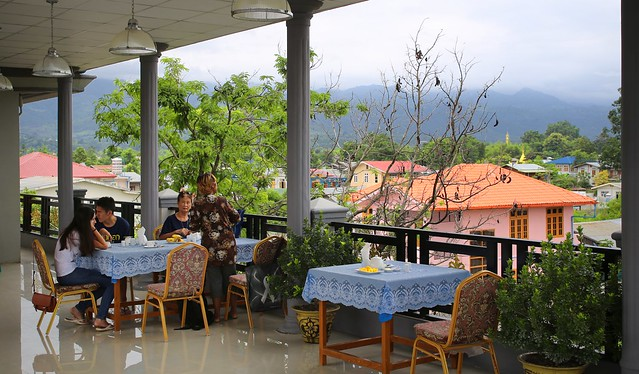 Breakfast on rooftop terrace of the Inlay Palace Hotel in Nyaung Shwe
