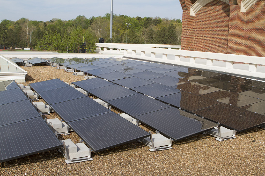 Solar array on the roof of the Weinstein Center