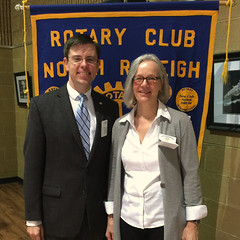 Carol Hofer is a Rotarian from Zurich, Switzerland and a return visitor to our club. She is visiting family here in Raleigh.