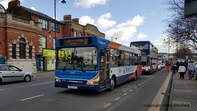 Stagecoach East Midlands Dennis Dart FY02VCJ (34400) on St Mary's Street, Lincoln, 29/03/2016