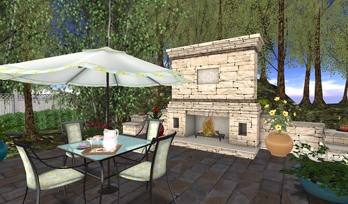 Galland Homes Outdoor Fireplace & BeYou World Patio Set | by Hidden Gems in Second Life (Interior Designer)