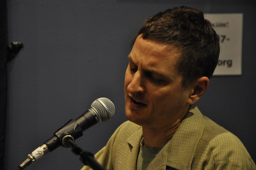 Greg Schatz at WWOZ.  Photo by Leona Strassberg Steiner