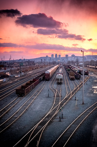 railroad sunset sky urban cloud train dark montreal