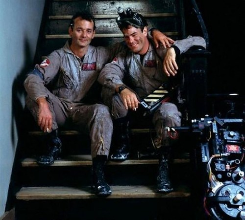 Bill Murray and Dan Aykroyd taking a break on the set of Ghostbusters,1984[1200 x 1080] #HistoryPorn #history #retro http://ift.tt/1SCZl5O | by Histolines