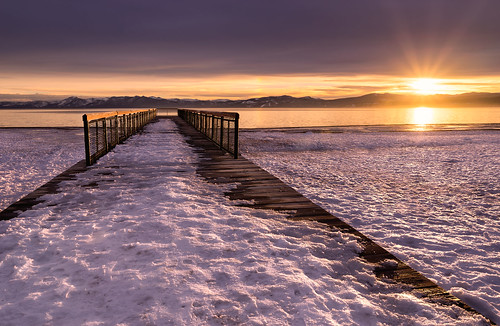 california sunset mountain lake snow water clouds sunrise landscape pier us unitedstates outdoor laketahoe calm kingsbeach rayslake