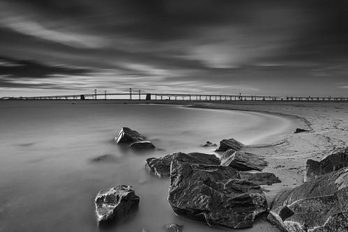 longexposure bridge blackandwhite beach clouds landscape maryland boulders baybridge skidmore chesapeakebay sandypoint neutraldensity leefilters bigstopper