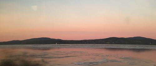 morning pink train river hudson