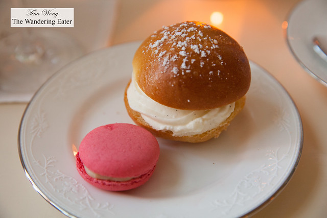 Brioche filled with whipped cream and rose macaron