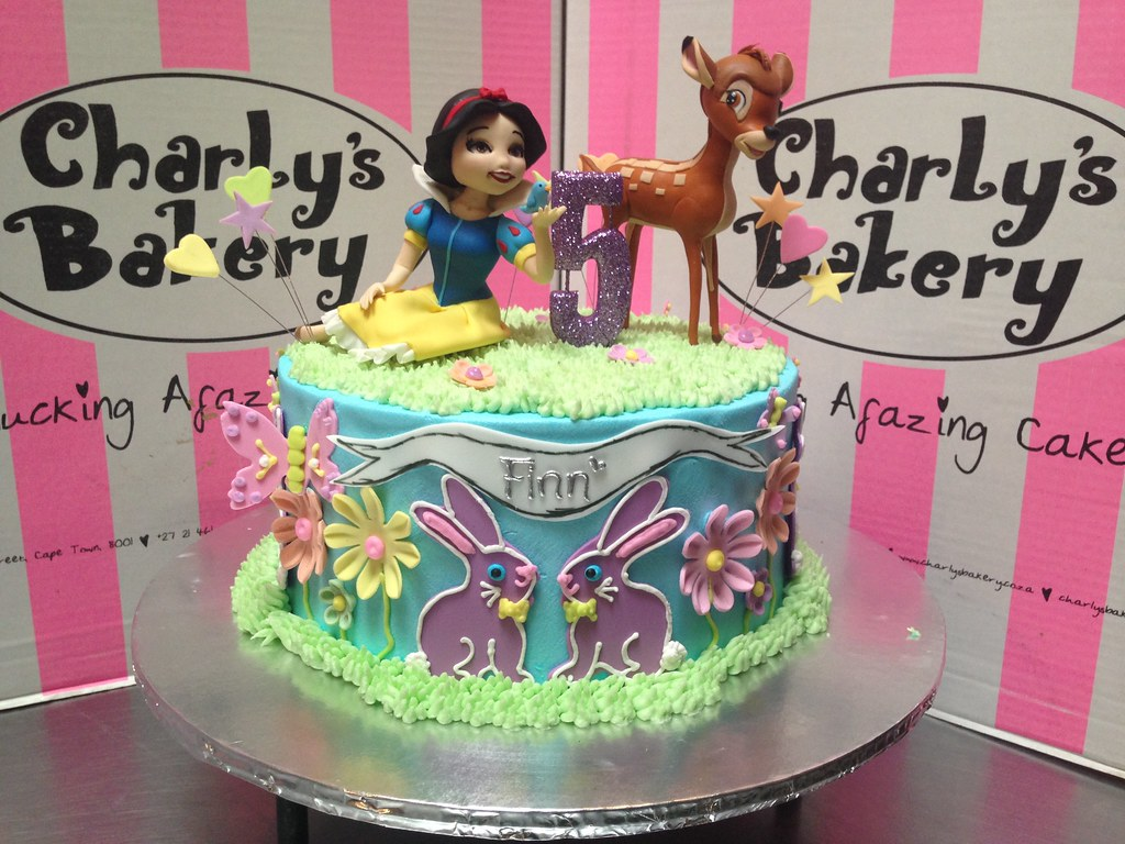 Admirable Snow White And Bambi Themed 5Th Birthday Cake With 3D Figu Flickr Funny Birthday Cards Online Overcheapnameinfo