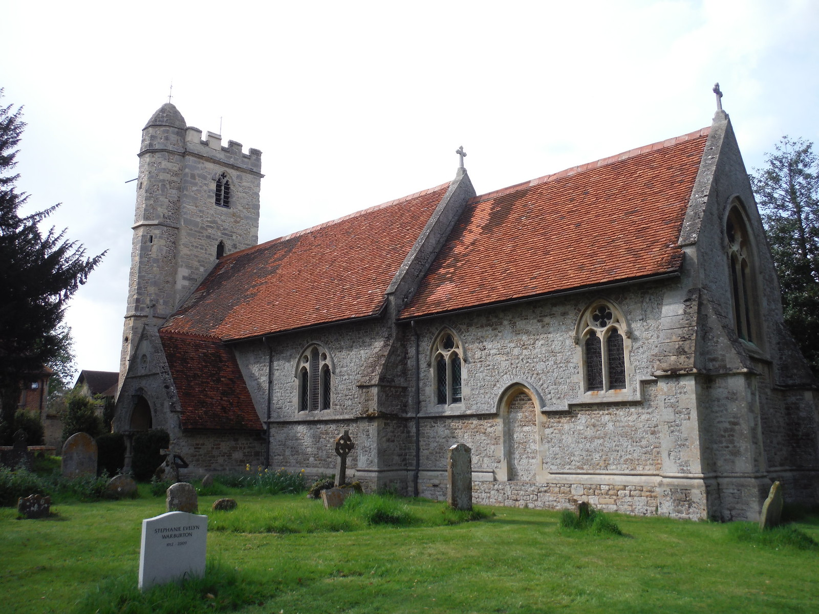 Little Wittenham Church with unusual tower SWC Walk 44 - Didcot Circular