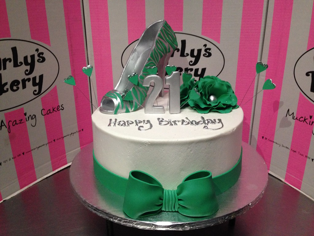 Awesome Single Tier 21St Birthday Cake In White And Jade Green Wit Flickr Funny Birthday Cards Online Kookostrdamsfinfo