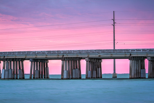 bridge pink sunset sky color water honda keys twilight highway florida bahia after hdr us1 overseas