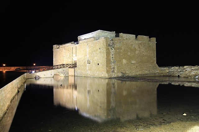 Night Time, Water Reflection & Illuminated Architecture, Paphos Castle, Paphos, Republic Of Cyprus.