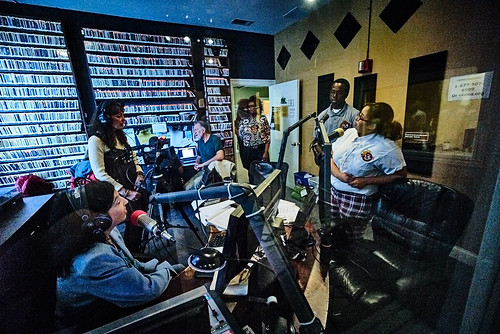 The studio during Pledge Drive. Photo by Eli Mergel