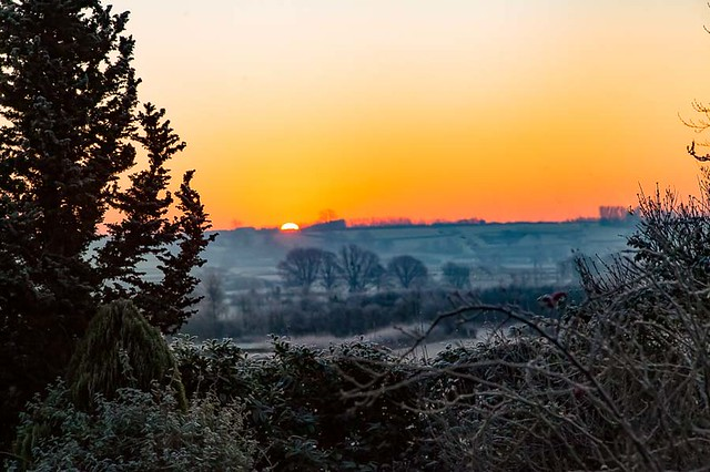 Dawn turning to sunrise on the Somerset levels
