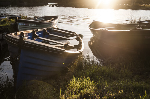 ireland light sunset summer irish lake water boats evening warm corrib row gras