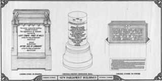 An illustration of the corner stones for the new Parliament Buildings / Dessin des pierres angulaires des nouveaux édifices du Parlement