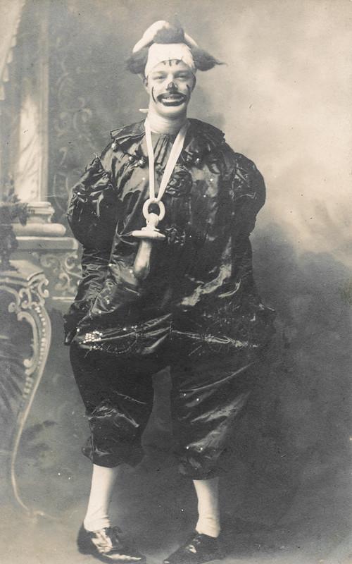 Man in a strange clown costume