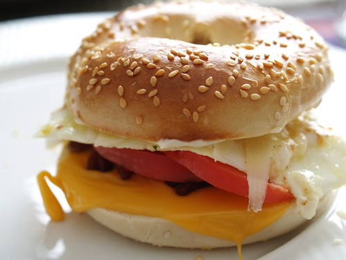 Bagel sandwhich with egg white, cheese, and tomato